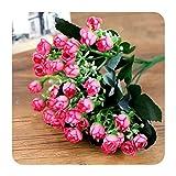 Art Flower 1Bunch 36Heads - Flor de seda artificial de tela de plástico para bodas, accesorios para el hogar, decoración de la habitación, color rosa, 27 cm