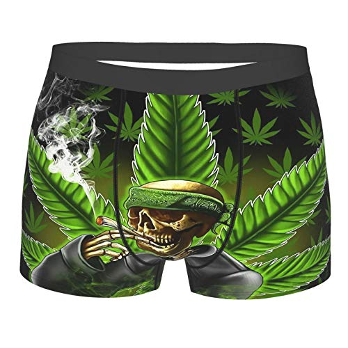 Verde Marihuana Leaf Weed Skull Calavera Calzoncillos Bóxer para Hombre con bolsa de Ballpark Integrado Soporte Ropa interior de Entrenamiento