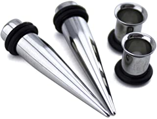 Urban Body Jewelry 1 Gauge Ear Stretching Kit - (1G - 7mm) 2 Steel Tapers & 2 Steel Tunnels (4 Pieces)