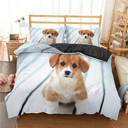 LucaSng Blanco Funda Nordica 3D Impresión Ropa De Cama De - King 220x260 CM - Perro Animal Creativo - Funda de Edredón 3 Ropa de Cama Suave Familia Niño Niña Moderno Estilo Colcha Cama