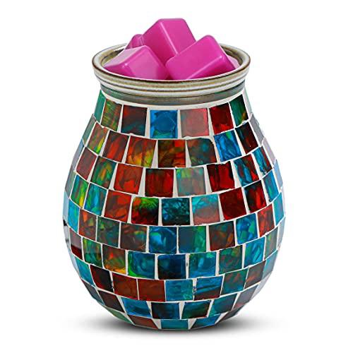 mocosa Wax Melt Warmer, Handcrafted Mosaic Glass Wax Warmer, Electric Candle Wax Burner Scented Wax Warmer for Home Office Bedroom Living Room Gifts & Decor…