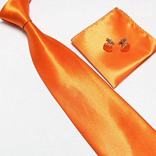 LCN Cravate + Pochette + Bouton de Manchettes Satinée - Orange - Neuf