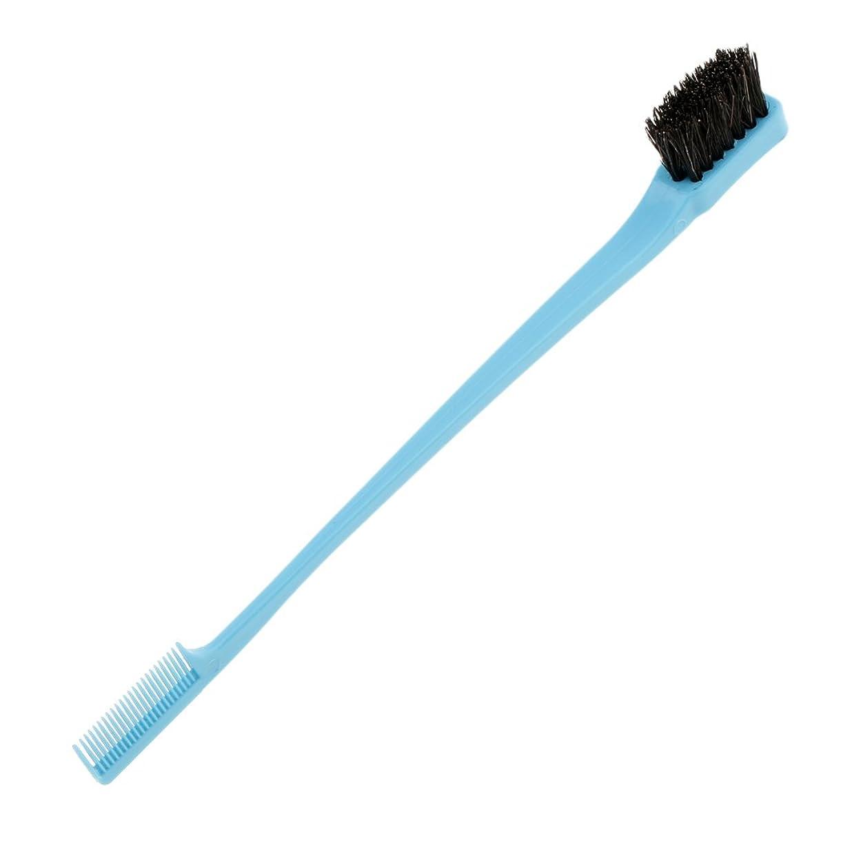 同性愛者欺めまいBlesiya ヘアブラシ ヘアコーム 両端使え 櫛 プラスチック製 ひげ口髭 ラインひげ整え ヘアースタイリング エッジ削り 便利 7インチ 4色選べる - 青