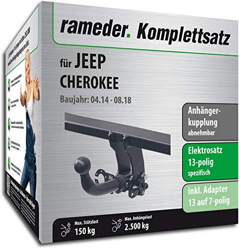 Rameder Komplettsatz, Anhängerkupplung abnehmbar + 13pol Elektrik für Jeep Cherokee (123568-11738-1)