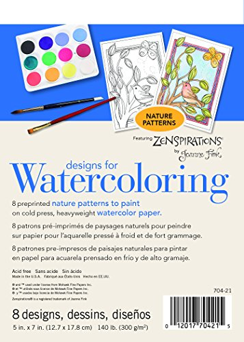 Strathmore (704-21-1 Designs for Watercoloring 140 lb. Cold Press Pad, Nature, 8 Sheets