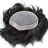 Stylazo Human Hair Patch,Human hair Toupee, Men Wig To Cover Baldness Attach Easily With Glue or Tape (11x9, Natural Black)
