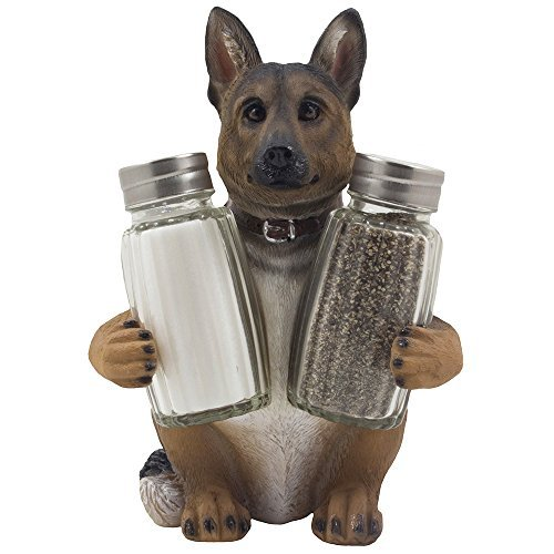 German Shepherd Police Dog Salt and Pepper Shaker Set with Decorative Display Stand Holder Canine Figurine for Kitchen Decor Table Centerpieces As K-9 Gifts for Policemen by Home-n-Gifts by Home-n-Gifts