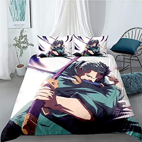 Anime One Piece Juego de ropa de cama 3D Anime Digital Print Ropa de cama de tres piezas, 100% suave y agradable, con dos fundas de almohada (estilo 07,220 x 260 cm/80 x 80 cm)