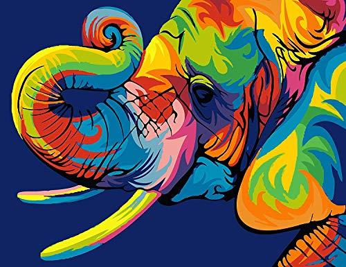 BOSHUN Pintar por Numeros para Adultos Niños Pintura por Números con Pinceles y Pinturas Decoraciones para el Hogar Elefante Colorido (16 * 20 Pulgadas, Sin Marco)