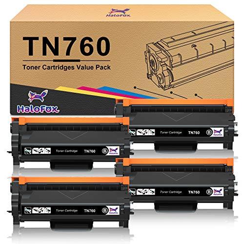 HaloFox Compatible Toner Cartridge Replacement for Brother TN760 TN-760 TN730 TN-730 for Brother HL-L2350DW HL-L2395DW HL-L2390DW HL-L2370DW MFC-L2750DW MFC-L2710DW DCP-L2550DW (Black, 4-Pack)