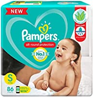 Pampers All round Protection Pants, Small size baby diapers (SM) 86 Count, Anti Rash diapers, Lotion with Aloe Vera