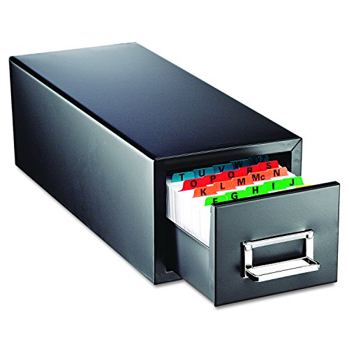 SteelMaster 263F3516SBLA Drawer Card Cabinet Holds 1,500 3 x 5 cards, 7 3/4 x 18 1/8 x 7