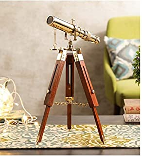 OVERSEAS MART Brass Telescope with Wooden Tripod 10'' Inch Antique Style Wooden Telescope with 14''Inch Tripod Brown Polis...