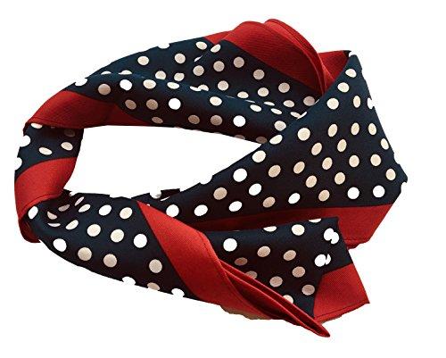 PB Pietro Baldini Schal blau weiß gepunktet und rot li+re Roten Streifen, Rockabilly schal blau mit weißen punkten, damen accessoires