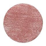 Carpettex Teppich Shaggy Tapis Ronds Tapis Salon Soft Gloss Yarn Couleur Unie 9 Couleurs, Couleur:Rose, Dimension:160x160 cm Ronde