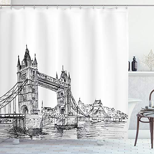 "Ambesonne Vintage Shower Curtain, Old Fashion London Tower Bridge Sketch Architecture British UK Scenery Art Print, Cloth Fabric Bathroom Decor Set with Hooks, 70"" Long, Black White"