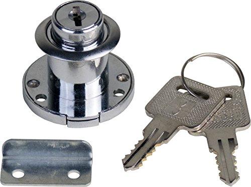 1 Schrankschloss Möbelschloss Einbauschloss Klappenschloss aus Metall vernickelt mit Schlüssel 35mm