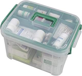 Nesmile 1 Pack Clear Household First-Aid Kit, Medicine Containers Storage Box with Tray