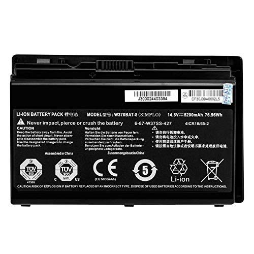 W370BAT-8 6-87-W370S-427 Laptop Battery Replacement for Clevo W350ET W350ETQ W355STQ Schenker XMG A503 A522 A722 Sager NP6350 6370 7358 Gigabyte P2742 Hasee K650S-i7 K660E K710C-i7 (14.8V 76.96Wh)