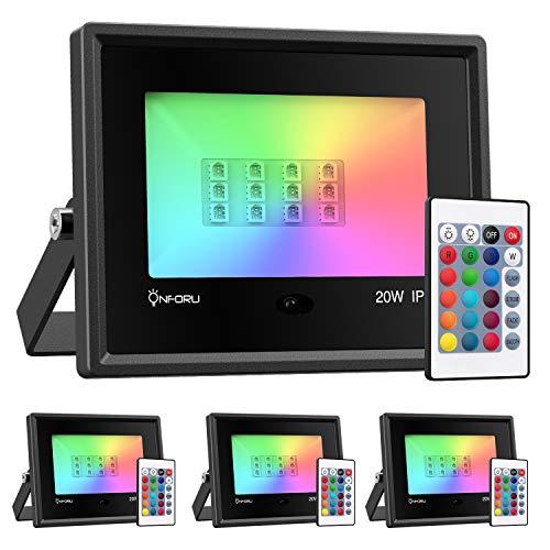 Onforu 4x 20W Faretto LED RGB Esterno e Insterno, Proiettore LED IP66 Impermeabile, 4 Modalità 16 Colori con Telecomando, Funzione di...