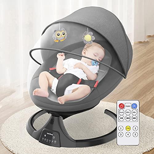 Altalena Portatile motorizzata Con telecomando e funzione Bluetooth, dondolo neonati elettrico con Oscillazione Naturale a 5 Velocità,Culla neonato Elettrica Adatto ai neonati da 0 a 24 mesi,Black