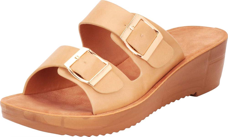 Cambridge Select Women's Retro 70s Two-Strap Buckled Slip-On Chunky Platform Wedge Slide Sandal