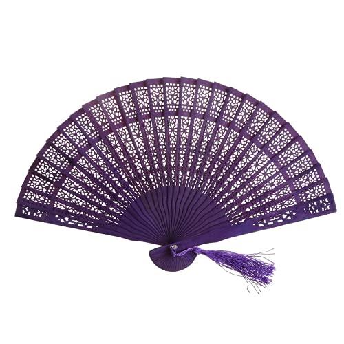 JONJUMP Abanico de mano tallado hueco de madera retro chino plegable regalos decoración del hogar ventilador de bolsillo boda fiesta nupcial