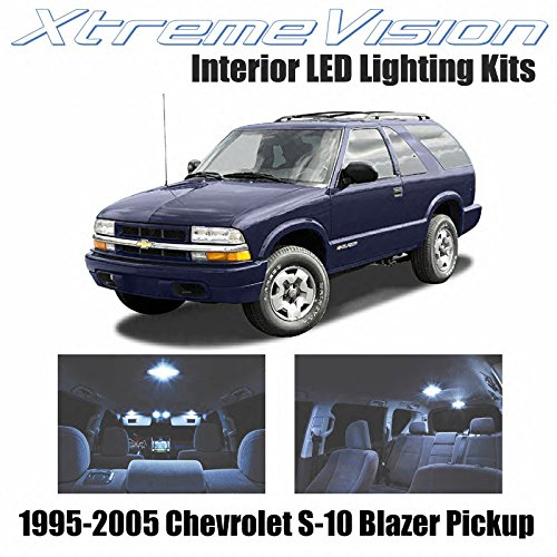 Xtremevision Interior LED for Chevrolet S-10 Blazer Pickup 1995-2005 (13 Pieces) Cool White Interior LED Kit + Installation Tool