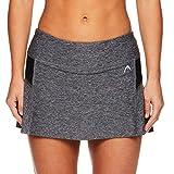 HEAD Women's Athletic Tennis Skort - Performance Training & Running Skirt - Black Heather, X-Large