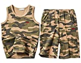 Koupa Boys Camouflage Tank Tops&Shorts Set Kids Clothes Outfits (Green, 9-10Years)