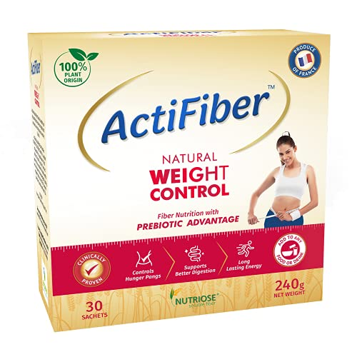 ActiFiber Natural Weight Control - Weight Loss Product for Women & Men | Fiber Nutrition with Prebiotic Advantage | 100% Plant Origin (240 Gm Pack, 30 Sachets)
