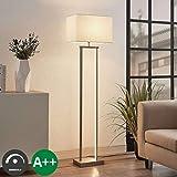 Lampenwelt Stehlampe 'Sigurd' dimmbar (Modern) in Alu aus Textil u.a. für Wohnzimmer & Esszimmer (1 flammig, A++) - Stehleuchte, Floor Lamp, Standleuchte, Wohnzimmerlampe, Wohnzimmerlampe