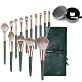 Makeup Brushes Set, ANROM 14Pcs Multifunctional Makeup Brushes with Case and Dry Color Removal Brush Cleaner (Green)