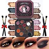 LUXAZA Eyeshadow Palette Browns 12 Colors Matte & Shimmer with Eyeliner & Brushes,Color-match & Pigmented & Soft...