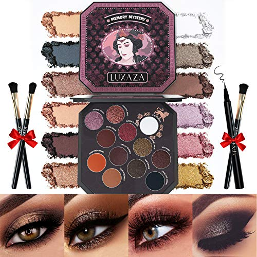 LUXAZA Smoky Eyeshadow Palette Browns 12 Colors Matte & Shimmer with Eyeliner & Brushes,Color-match & Pigmented & Soft Professional Makeup Kit - Brown