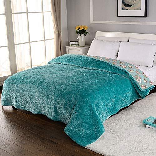 Manta de franela con bordado de rosas, colcha de cama, colchas acolchadas de algodón coreano, colcha gruesa y cálida, multiusos, para todas las estaciones, decoración de la cama, verde, doble / doble