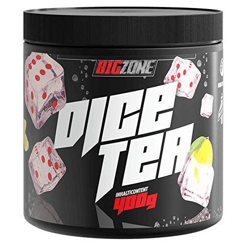 Big Zone Dice Tea mit 100 Portionen   Kalorienarmer Eistee unter 1g Zucker auf 100g, nur 4g reichen für 500ml Wasser   400g Pulver   (Eistee Zitrone)