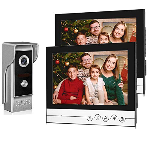 uoweky 9 '' Sistema di Videocitofonia TFT LCD 700TVL IR Night Vision per Videocitofono Domestico Videocitofono 9inch Clear Display + Fotocamera Impermeabile in Metallo (1 camera 2 monitor)