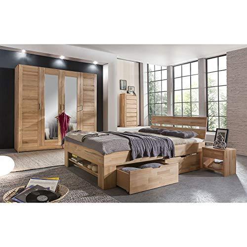 Elfo Armario ropero moderno de 4 puertas (madera de haya maciza con espejo)