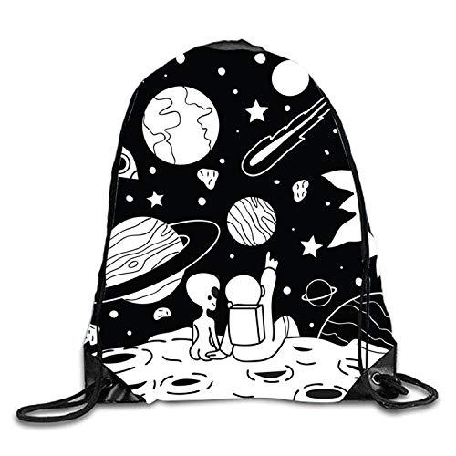 uykjuykj Aline Astronaut Couple Sackpack Drawstring Backpack Waterproof Gymsack Daypack For Men Women Aline Astronaut Couple5 Lightweight Unique 17x14 IN