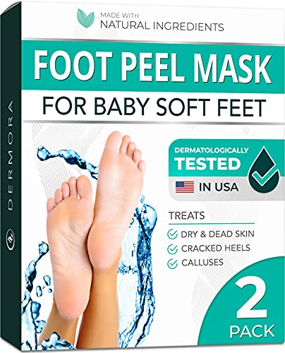 Foot Peel Mask - 2 Pack - For Cracked Heels, Dead Skin & Calluses - Make Your Feet Baby Soft & Get a Smooth Skin, Removes & Repairs Rough Heels, Dry Toe Skin - Exfoliating Peeling Natural Treatment