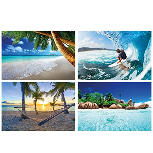 GREAT ART® Juego de 4 carteles con motivos infantiles | Din A2 - 42 x 59,4 | surf y playa | palm beach surf rider hamaca beach paradise island | Cuadros para niños decoración póster