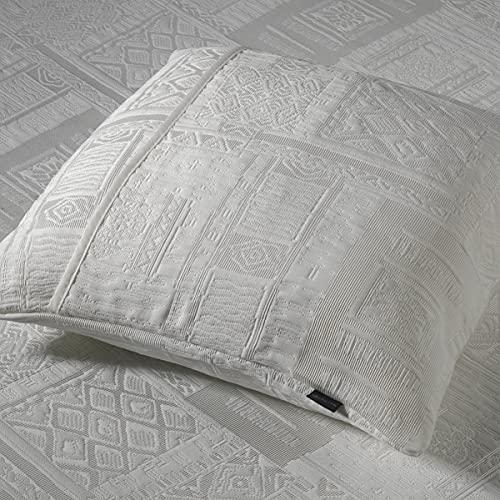 Sibiles - Colcha Piqué Blanca Dibujo Geométrico con Ribete y Opción de Cojines Delta 22 (Funda Cojín 50x50 cm, Blanco)