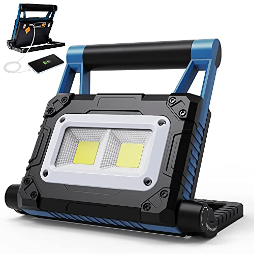 Rechargeable Work Light Torchlet Solar Led Work Lights with 2500LM, 5000 mAh, 3 Work Modes, Portable Flood Light 360° Rotation Stand with USB Output as a Power Bank