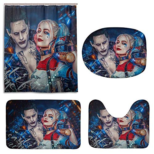 """Birdcloud 4 Pcs Get Harley Davidson Shower Curtain Sets for Bathroom,with Non-Slip Rugs Toilet Lid Cover and Bath Mat, Harley Quinn Clown Girl and The Joker Shower Curtains with 12 Hooks (65"""" X 70"""")"""