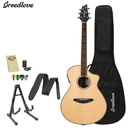 Breedlove STAGE-CT Stage Concert Acoustic-Electric Guitar with Strap, Stand,...