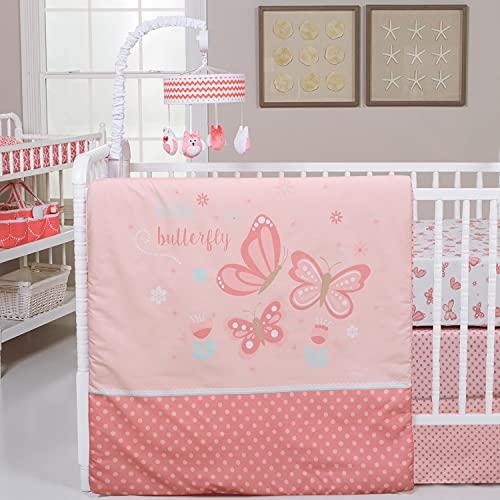 Cuddles & Cribs 4 Pcs Baby Girl Crib Bedding Set - 100% Cotton Crib Sheets, 100% Polyester Reversible Comforter and Crib Skirt - Butterfly Garden