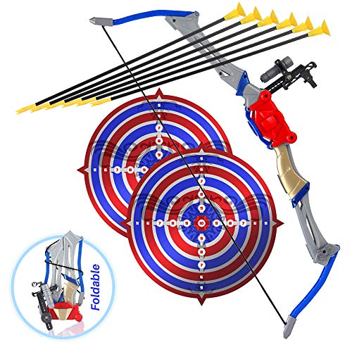Bow and Arrow Toy for Kids, Outdoor Archery Set for Boys and Girls 6-12 Years Old, Foldable Pretend Hunting Toy with 2 Targets and 6 Suction Cup Arrows, Best for Sports Play and Adventure Games