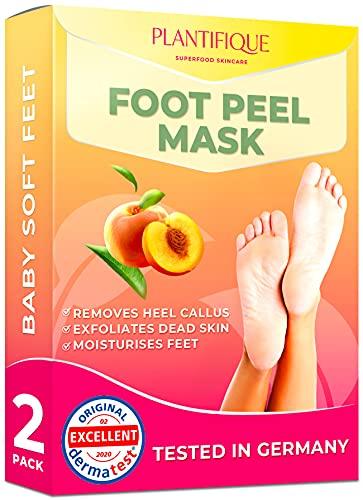 Fußmaske Pfirsich Hornhaut Socken von Plantifique - Foot Peel Mask Hornhautentferner Socken - Wirksam bei Schwielen, Abgestorbener und Trockener Haut - Tief Rissige Fersen Reparat - 2 Paare