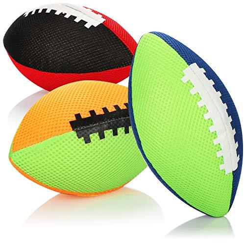 com-four® 3X Aufblasbarer Rugby Ball - Mini-Rugbyball 18 cm - Softer Kinderball für Strand, Schwimmbad, Garten